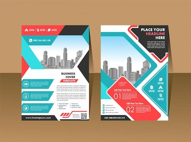 Okładka Broszury Ulotki W Formacie A4 Z Kolorowymi Geometrycznymi Premium Wektorów
