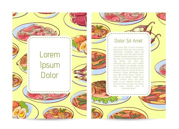 Okładka menu restauracji kuchni tajskiej Premium Wektorów