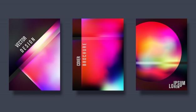Okładkowy projekta szablon - gradientowy kolorowy tło Premium Wektorów