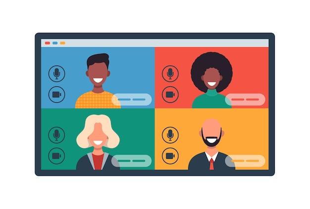 Okna Internetowe Z Różnymi Osobami Rozmawiającymi Przez Wideokonferencję Na Tablecie. Uśmiechnięci Mężczyźni I Kobiety Pracują I Komunikują Się Zdalnie. Ilustracja Spotkania Zespołu Premium Wektorów