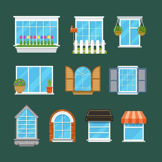 Okna Z Parapetami Zasłony Kwiaty Balkony Płaski Zestaw Premium Wektorów