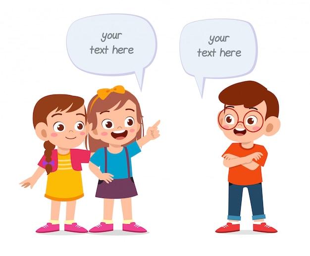 Okno Dialogowe Szczęśliwy Balon Dziecko Dziewczynka I Chłopiec Premium Wektorów