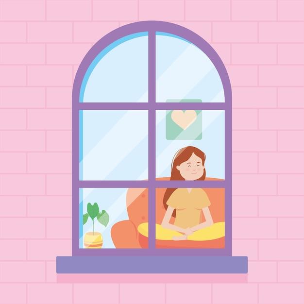 Okno Domu Przedstawiające Szczęśliwą Kobietę Kreskówka Siedzącą Na Kanapie Premium Wektorów