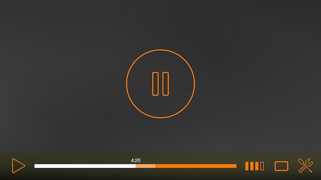 Okno Odtwarzacza Wideo Z Menu I Przycisków Panelu Wektor Premium Wektorów