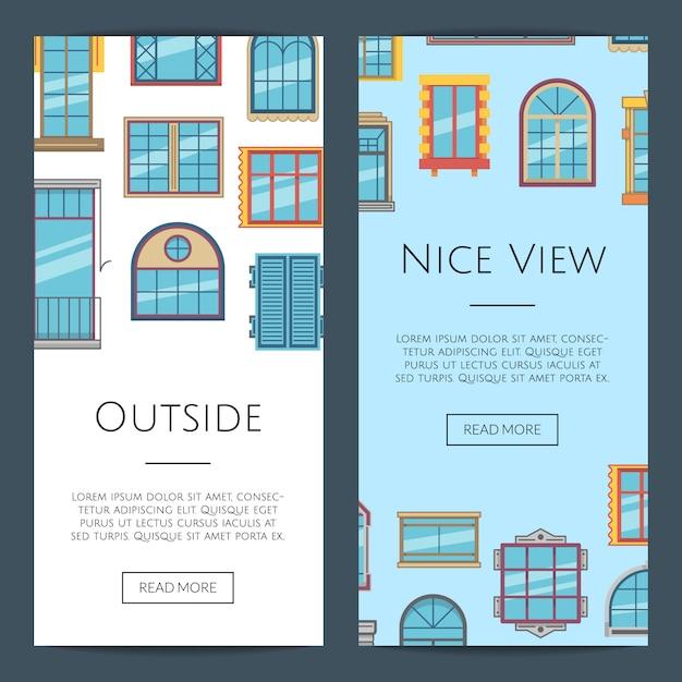Okno płaski pionowy szablon transparent internetowej Premium Wektorów