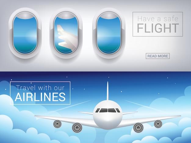 Okno samolotu, sztandar turystyczny. samolot pasażerski w chmurach nieba, bezpieczny lot po niebie Premium Wektorów