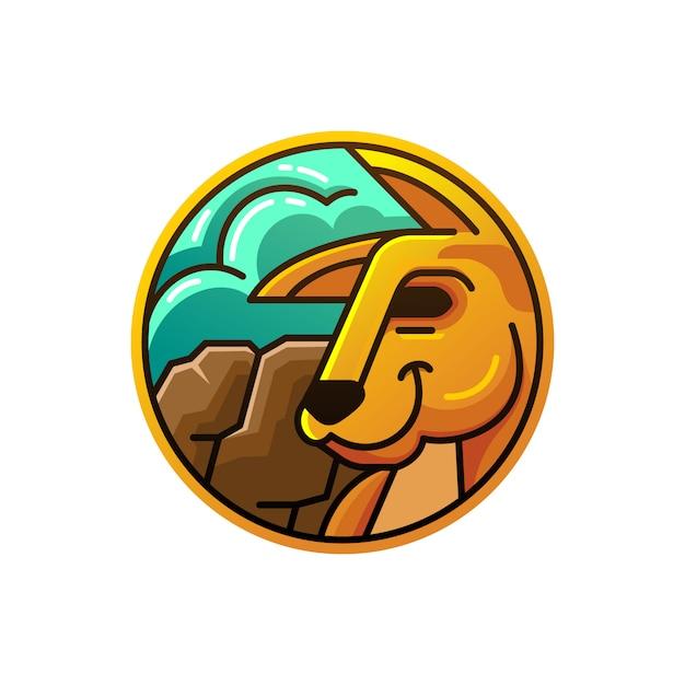 Okrąg Ilustracja Kangur Z Rockowym Górskim Tłem Premium Wektorów