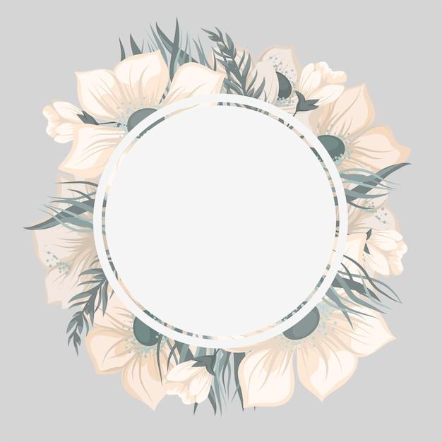 Okrągła Granica Kwiatowy Z Uroczymi Kwiatami Darmowych Wektorów