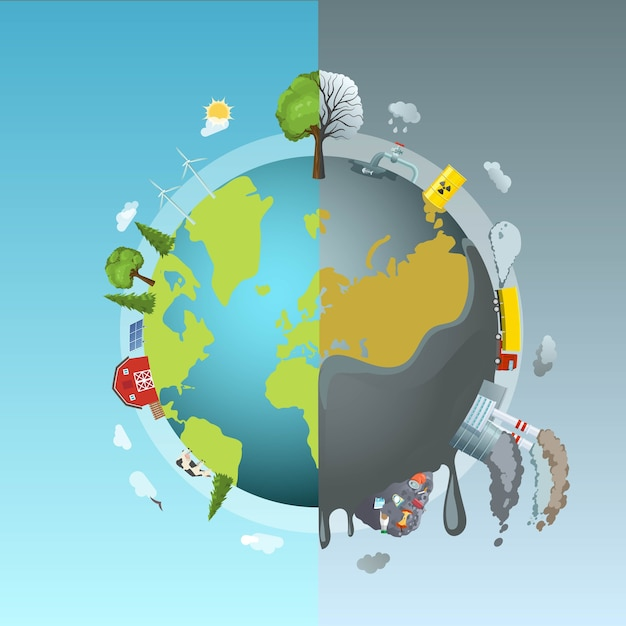 Okrągła Koncepcja Zanieczyszczenia środowiska Darmowych Wektorów