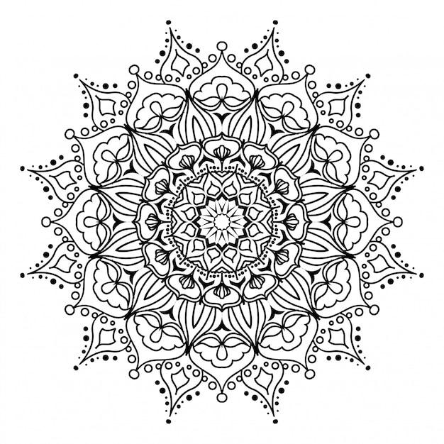 Okrągła Mandala Na Białym Tle Premium Wektorów