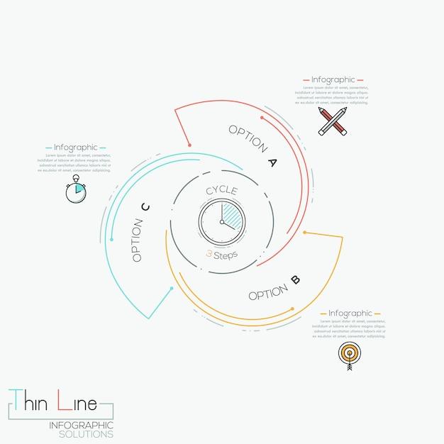 Okrągła plansza z 3 spiralnymi literami Premium Wektorów