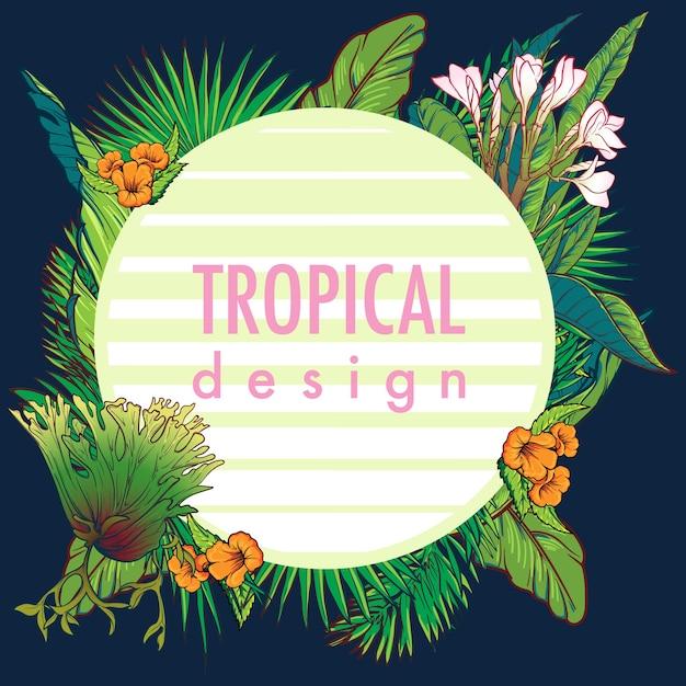 Okrągła Rama Tropikalnych Kwiatów. Premium Wektorów