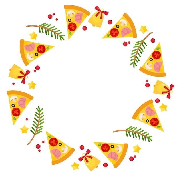 Okrągła Ramka Ze świąteczną Pizzą, świerkowymi Gałęziami I Dzwoneczkami. Darmowych Wektorów