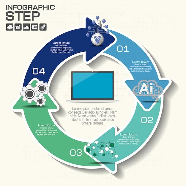 Okrągłe banery strzałkowe, infografiki Premium Wektorów