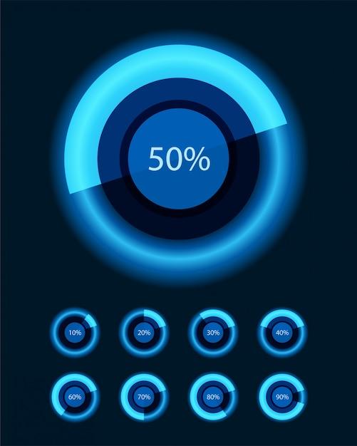 Okrągłe diagramy i procent wektor elementy projektu do prezentacji biznesowych infografiki Premium Wektorów
