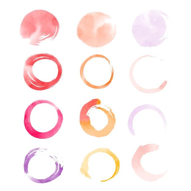 Okrągłe elementy akwarela wektor Darmowych Wektorów