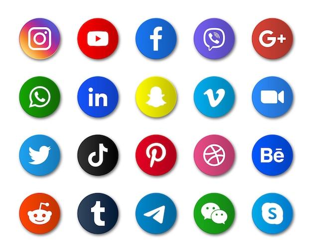 Okrągłe Ikony Mediów Społecznościowych Lub Logo Platform Sieciowych Premium Wektorów