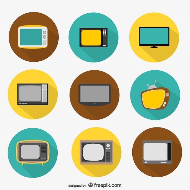 Okrągłe ikony tv Darmowych Wektorów