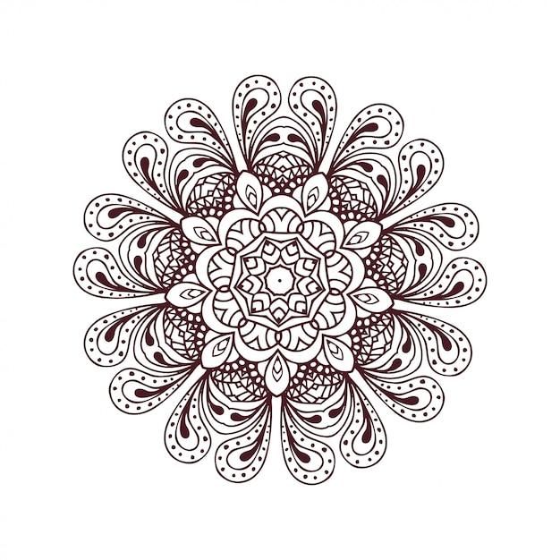 Okrągłe Mandale W Wektorze. Szablon Graficzny Do Projektowania. Dekoracyjny Ornament Retro. Ręcznie Rysowane Tła Z Kwiatami Premium Wektorów