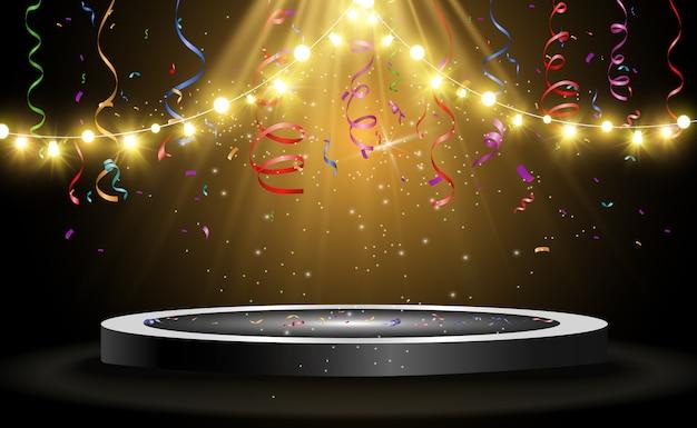 Okrągłe Podium, Cokół Lub Platforma, Oświetlone Reflektorami W Tle. Ilustracja. Jasne światło. światło Z Góry. Miejsce Reklamowe Premium Wektorów