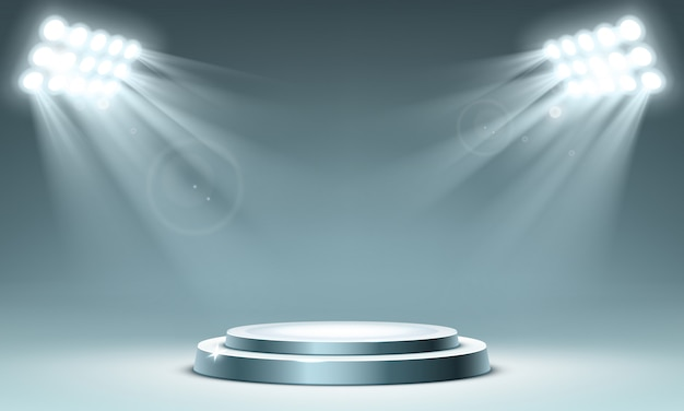 Okrągłe Podium Oświetlone Reflektorami Punktowymi Darmowych Wektorów