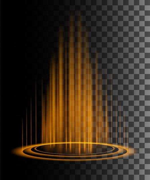 Okrągłe Pomarańczowe Promienie Blask Sceny Nocnej Z Iskier Na Przezroczystym Tle Premium Wektorów