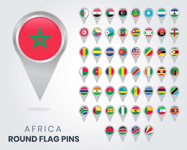 Okrągłe Szpilki Z Flagą Afryki Premium Wektorów