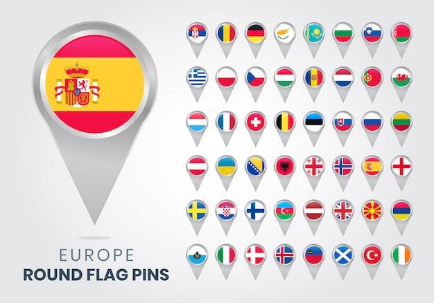 Okrągłe Szpilki Z Flagą Europy Premium Wektorów