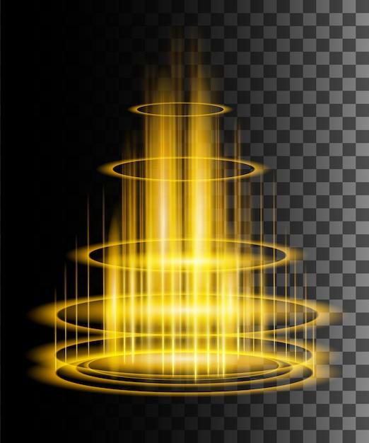 Okrągłe żółte Promienie Blask Sceny Nocnej Z Iskier Na Przezroczystym Tle Premium Wektorów