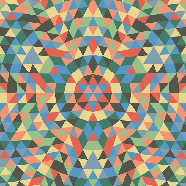 Okrągły Geometryczny Trójkąt Mandali Tła - Symetryczne Wektora Wzór Projektu Z Kolorowych Trójkątów Darmowych Wektorów