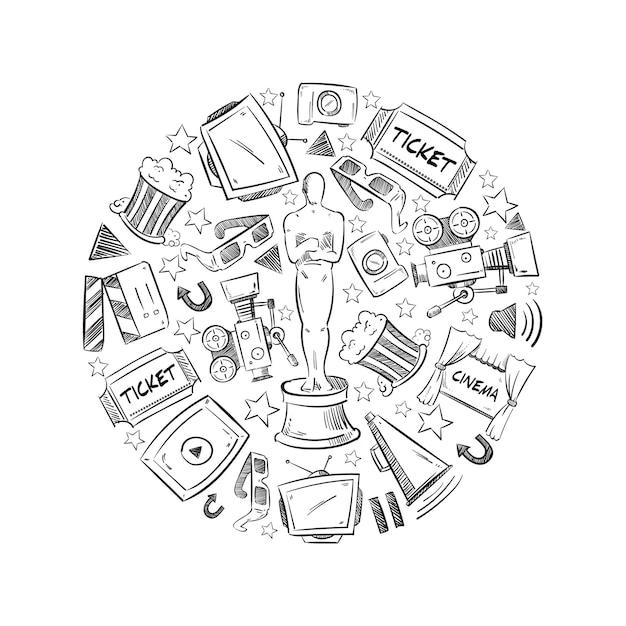Okrągły Kształt Ilustracji Z Elementami Przemysłu Kinowego Darmowych Wektorów