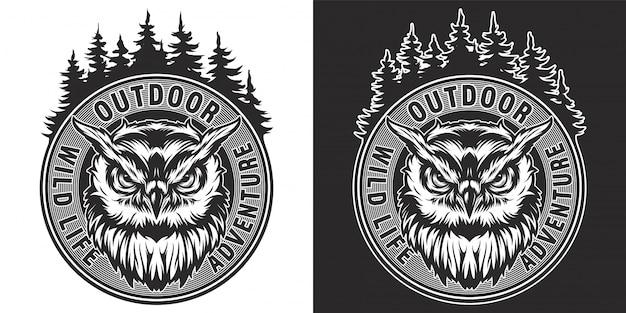 Okrągły Nadruk Rocznika Dzikich Zwierząt Darmowych Wektorów