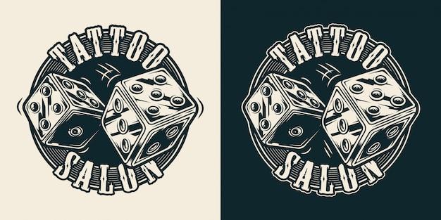 Okrągły Nadruk Studio Tatuażu W Stylu Vintage Darmowych Wektorów