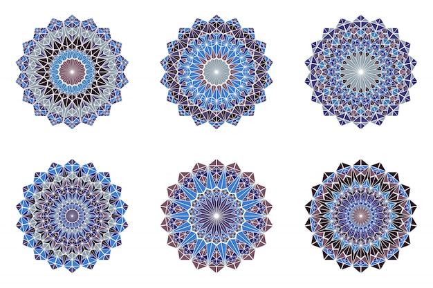 Okrągły Ozdobny Mandala Kolorowy Trójkąt Mozaiki Logo Premium Wektorów