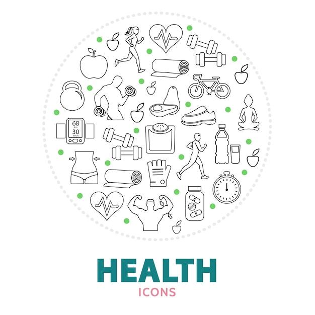 Okrągły Skład Z Elementami Opieki Zdrowotnej Darmowych Wektorów