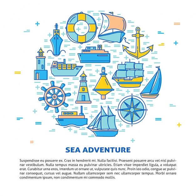 Okrągły transparent przygody morskiej Premium Wektorów