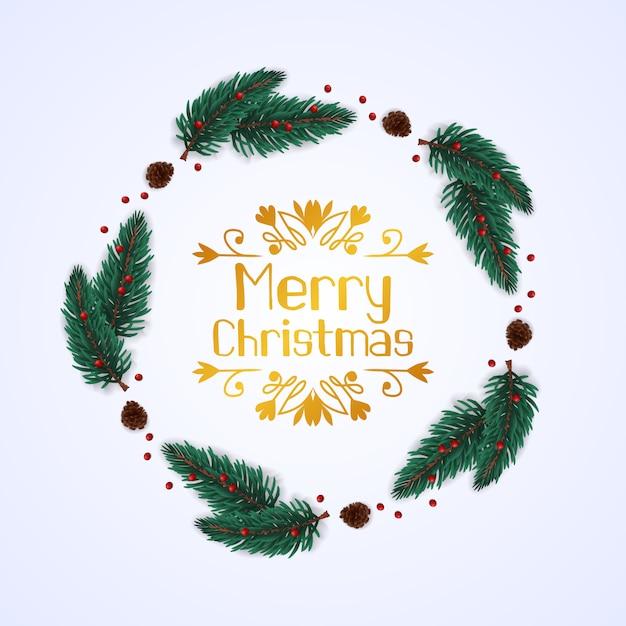 Okrągły Wieniec Jodła Pozostawia Girlandę Z Szyszka Do świątecznych Dekoracji Premium Wektorów