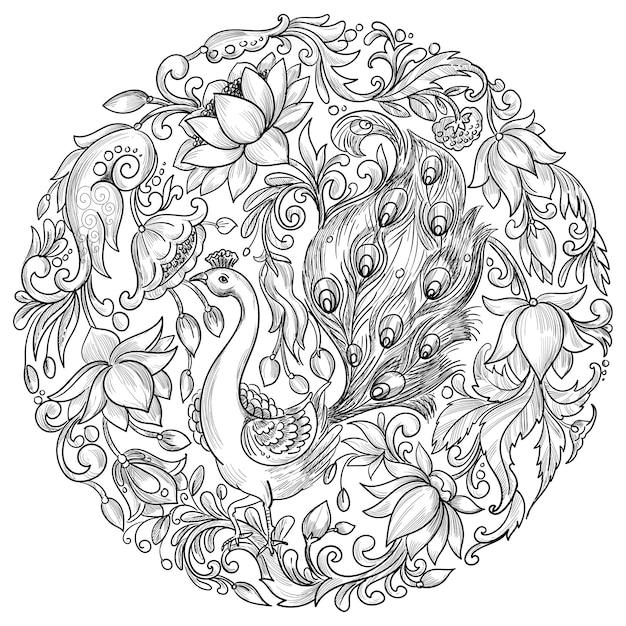 Okrągły Wzór Ozdobnej Mandali Darmowych Wektorów