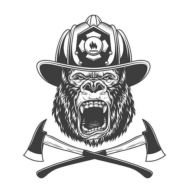 Okrutna Głowa Goryla W Hełmie Strażaka Darmowych Wektorów