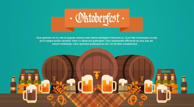 Oktoberfest beer festival banner drewniana beczka z dekoracją szklanych kubków Premium Wektorów