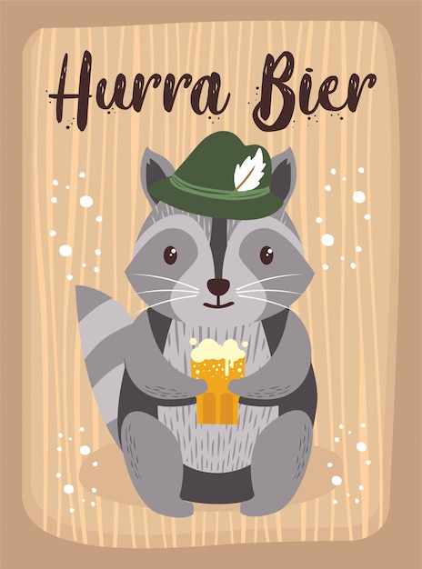 Oktoberfest Cartoon Cute Animal Raccoon October Beer Festival Premium Wektorów