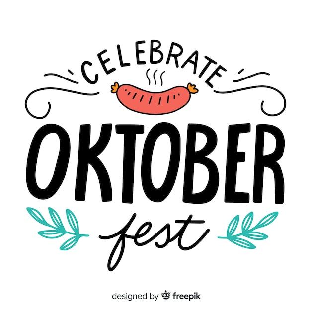 Oktoberfest napis tło z elementami Darmowych Wektorów