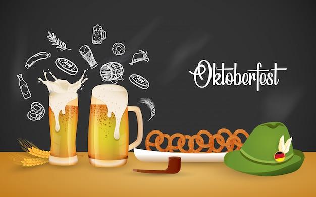 Oktoberfest party ilustracja ze świeżym piwem Premium Wektorów