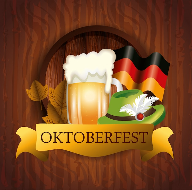 Oktoberfest Z Piwem I Flaga Germany Ilustracją Darmowych Wektorów