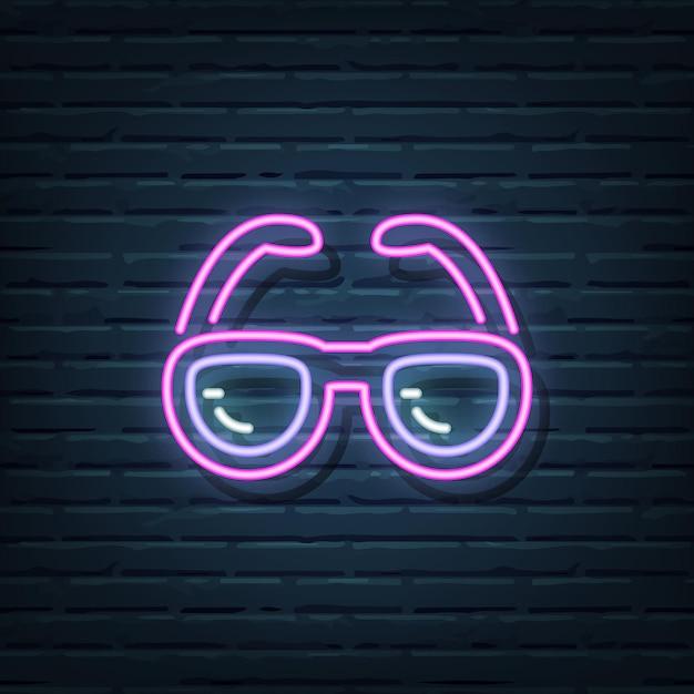 Okulary Przeciwsłoneczne Elementy Neonowego Znaku Premium Wektorów