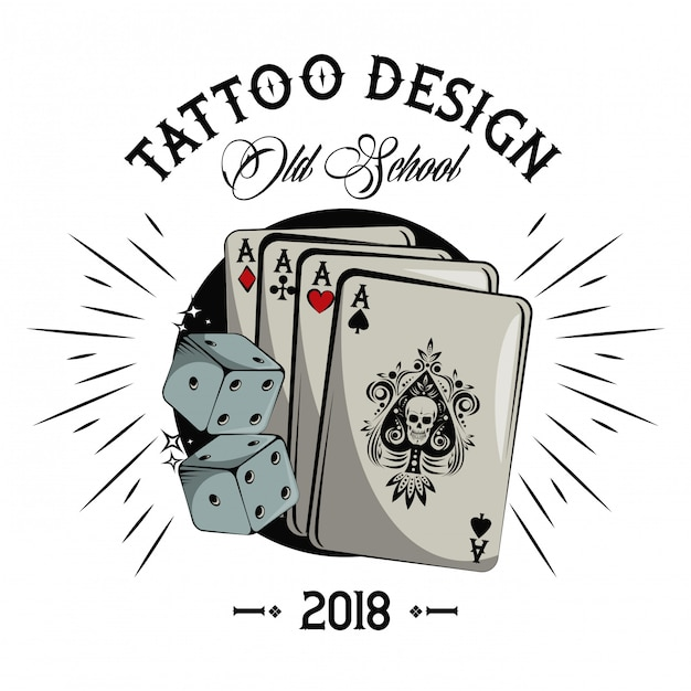 Old School Tatuaż Z Kart Pokera Rysunku Projektu Wektor