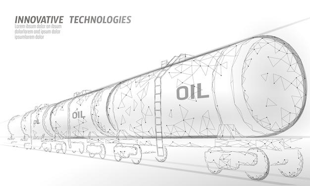 Olej Cysterna Kolejowa 3d Render Low Poly. Paliwo Zbiornik Oleju Napędowego Dla Przemysłu Naftowego. Butli Wagonów Kolejowych Pociągu Benzyny Logistycznie Ekonomiczna Biznesowa Poligonalna Kreskowa Wektorowa Ilustracja Premium Wektorów