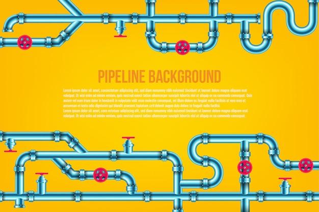 Olej przemysłowy, woda, tło systemu rur gazowych. Premium Wektorów