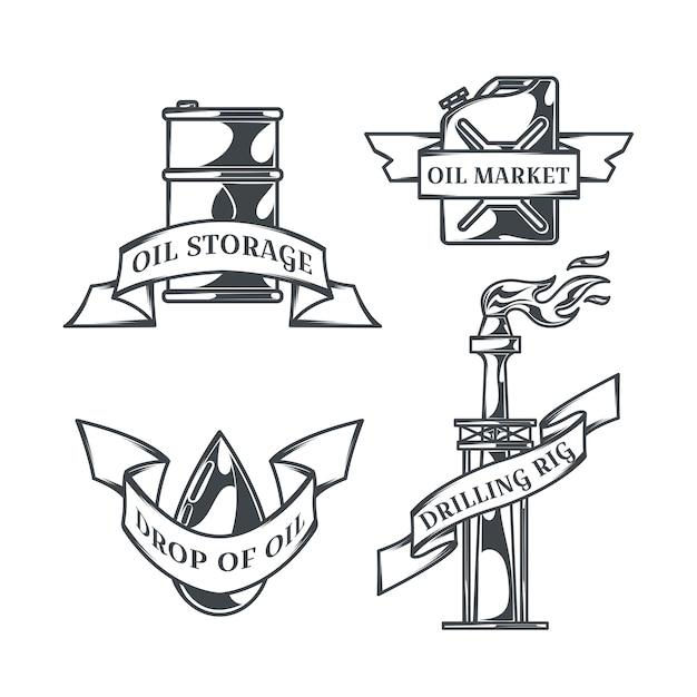 Olej Zestaw Izolowanych Logo W Stylu Vintage Darmowych Wektorów