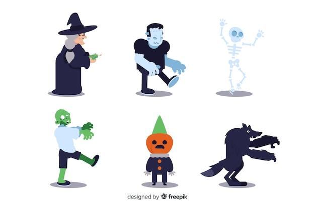 Ollection charakter halloween na płaska konstrukcja Darmowych Wektorów
